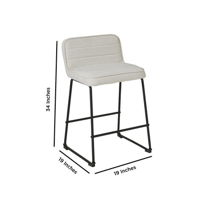 Channel Stitched Low Back Fabric Barstool with Sled Base Set of 2 White By Casagear Home BM226195