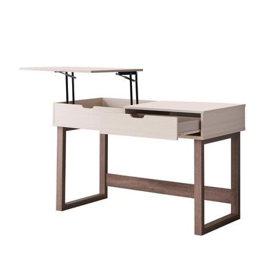 2 Drawer Rectangular Wooden Desk with Sled Base Ivory and Brown By Casagear Home BM226199