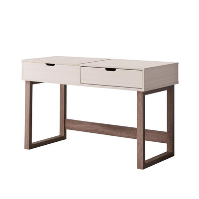2 Drawer Rectangular Wooden Desk with Sled Base, Ivory and Brown By Casagear Home