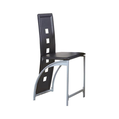 Metal Counter Height Chair with Tubular Leg, Set of 2, White and Black By  Casagear Home
