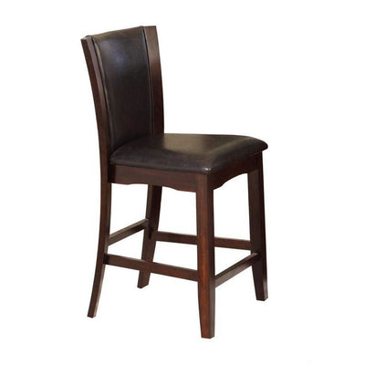 Wooden Counter Height Chair with Raised Back, Set of 2, Brown By  Casagear Home