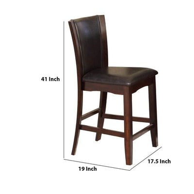 Wooden Counter Height Chair with Raised Back Set of 2 Brown By Casagear Home BM226291