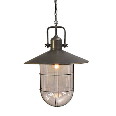 Industrial Metal Pendant Lamp with Glass Shade and Chain, Brass and Clear By Casagear Home