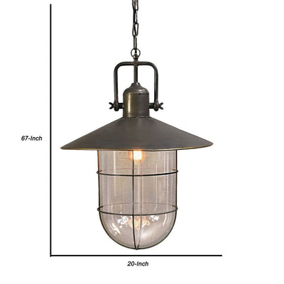 Industrial Metal Pendant Lamp with Glass Shade and Chain Brass and Clear By Casagear Home BM226380