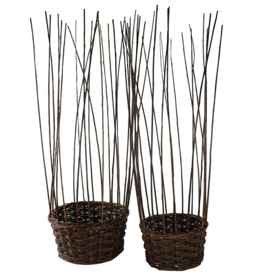 Willow Woven Basket with Long Strands Around Edges, Set of 2, Brown By Casagear Home