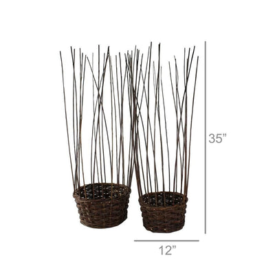 Willow Woven Basket with Long Strands Around Edges Set of 2 Brown By Casagear Home BM226381