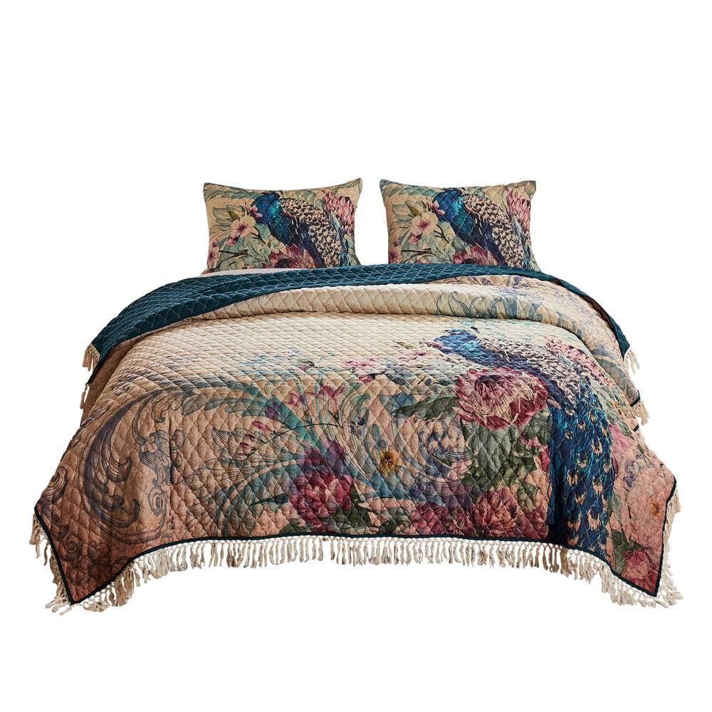 3 Piece Queen Size Quilt Set with Floral Print and Crochet Trim, Multicolor By Casagear Home