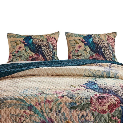 3 Piece Queen Size Quilt Set with Floral Print and Crochet Trim Multicolor By Casagear Home BM226418