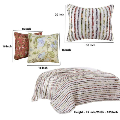 Five Piece King Size Cotton Quilt Set with Sewn Floral Ruffles Multicolor By Casagear Home BM226429