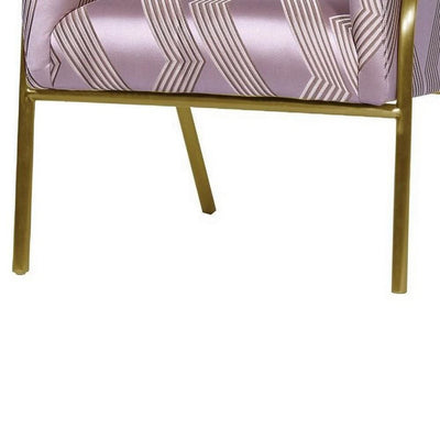 Textured Fabric Accent Chair with Tubular Legs,Purple & Gold By Casagear Home BM226804