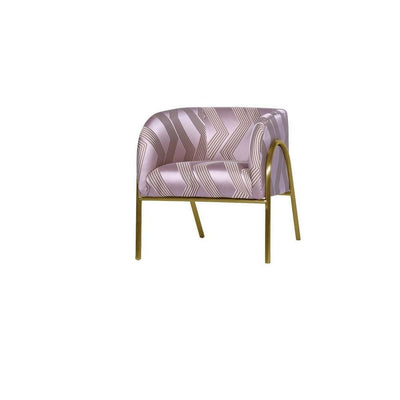 Textured Fabric Accent Chair with Tubular Legs,Purple & Gold By Casagear Home