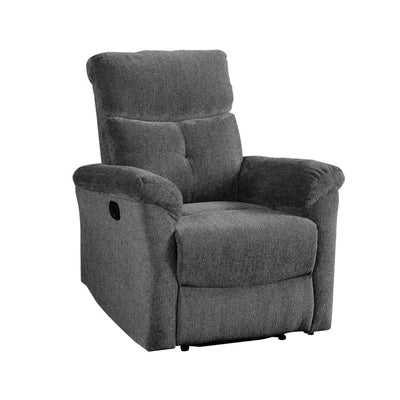 Fabric Upholstered Glider Recliner with Tufted Details, Gray By Casagear Home