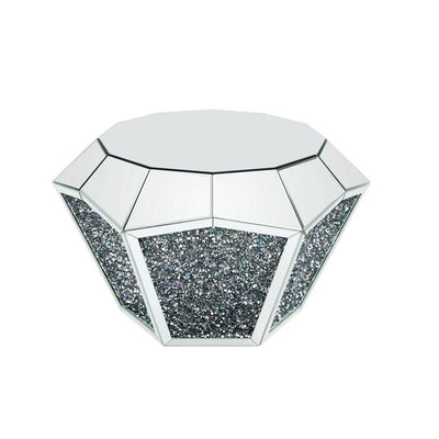 Mirror Octagonal Shape Coffee Table with Faux Diamond Inlays Silver By Casagear Home BM226892