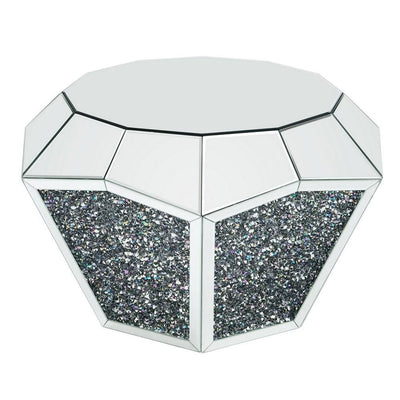 Mirror Octagonal Shape Coffee Table with Faux Diamond Inlays, Silver By Casagear Home