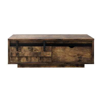 Sliding Barn Door Wooden Coffee Table with Rough Hewn Saw Texture Brown By Casagear Home BM226897