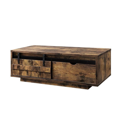 Sliding Barn Door Wooden Coffee Table with Rough Hewn Saw Texture, Brown By Casagear Home