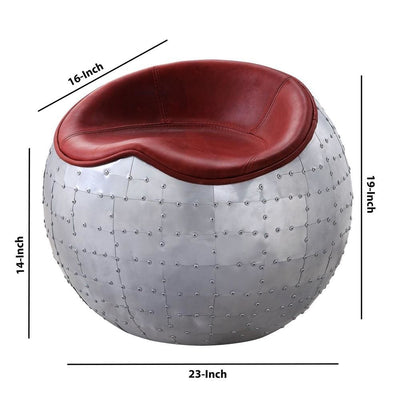 Spherical Metal Ottoman with Leatherette Saddle Seat Gray and Red By Casagear Home BM226915