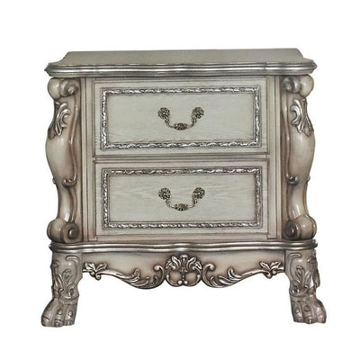 Traditional Wooden Nightstand with 2 Drawers and Carved Details Silver By Casagear Home BM226924