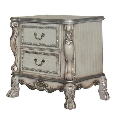 Traditional Wooden Nightstand with 2 Drawers and Carved Details, Silver By Casagear Home