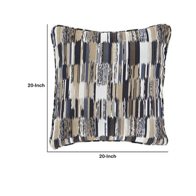 20 x 20 Zippered Accent Pillow with Abstract Print Set of 4 Multicolor By Casagear Home BM226976