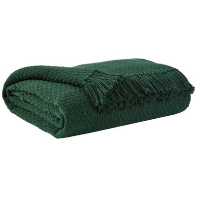 60 x 50 Cotton Throw with Textured and Fringe Details, Set of 3, Green By Casagear Home