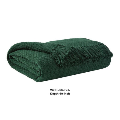 60 x 50 Cotton Throw with Textured and Fringe Details Set of 3 Green By Casagear Home BM226981