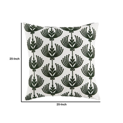 Accent Pillow with Embroidered Floral Design Set of 4 White and Green By Casagear Home BM227018