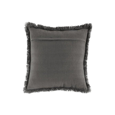 20 x 20 Basket Woven Cotton Accent Pillow with Fringes Set of 4 Gray By Casagear Home BM227021