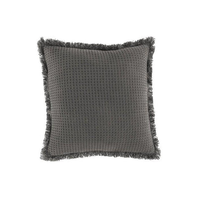 20 x 20 Basket Woven Cotton Accent Pillow with Fringes, Set of 4, Gray By Casagear Home