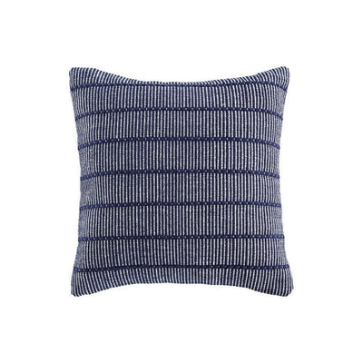 20 x 20 Cotton Accent Pillow with Stripe Print, Set of 4, Navy Blue By Casagear Home