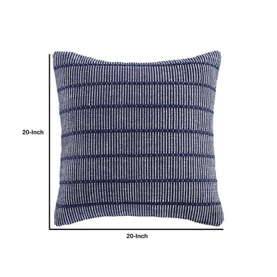 20 x 20 Cotton Accent Pillow with Stripe Print Set of 4 Navy Blue By Casagear Home BM227023