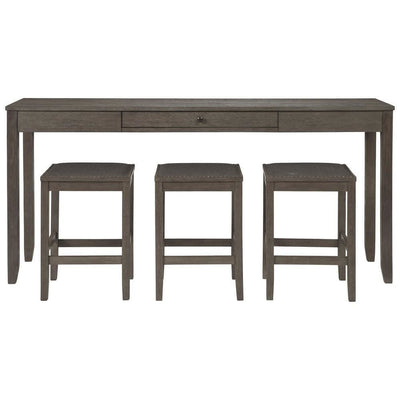 4 Piece Counter Height Dining Table Set with Barstool Gray By Casagear Home BM227026