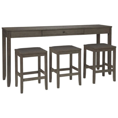 4 Piece Counter Height Dining Table Set with Barstool, Gray By Casagear Home