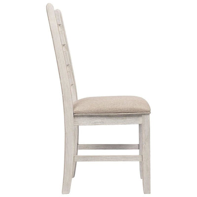 Fabric Dining Side Chair with Ladder Back Set of 2 White and Brown By Casagear Home BM227028