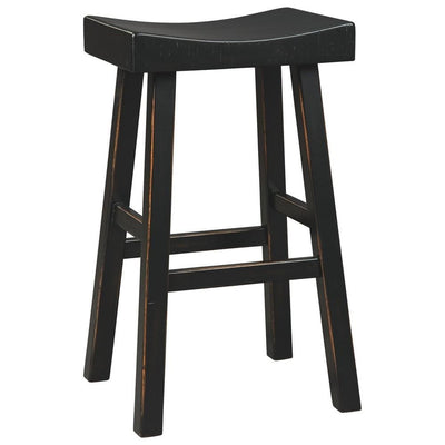 31 Inch Wooden Saddle Stool with Angular Legs Set of 2 Black By Casagear Home BM227040