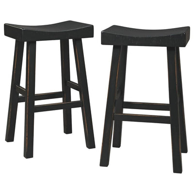 31 Inch Wooden Saddle Stool with Angular Legs, Set of 2, Black By Casagear Home