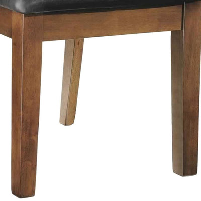 Leatherette Dining Chair with Slatted Back Brown and Black By Casagear Home BM227043