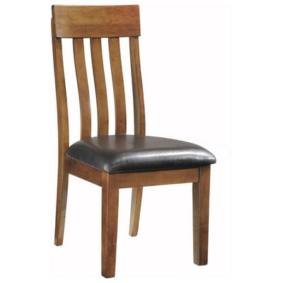 Leatherette Dining Chair with Slatted Back, Brown and Black By Casagear Home