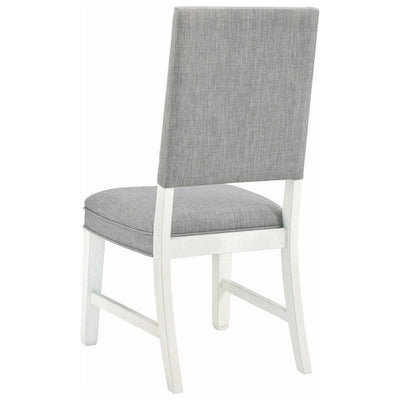 Fabric Dining Side Chair with Padded Back Set of 2 White and Gray By Casagear Home BM227052