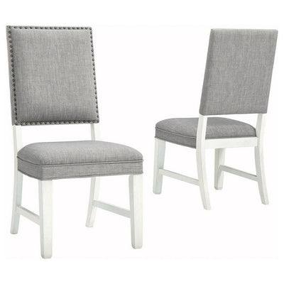 Fabric Dining Side Chair with Padded Back, Set of 2, White and Gray By Casagear Home