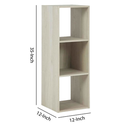3 Cube Wooden Organizer with Grain Details Natural Brown By Casagear Home BM227061