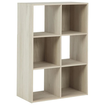 6 Cube Wooden Organizer with Grain Details, Natural Brown By Casagear Home