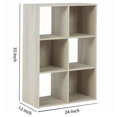 6 Cube Wooden Organizer with Grain Details Natural Brown By Casagear Home BM227062
