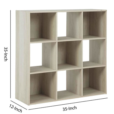 9 Cube Wooden Organizer with Grain Details Natural Brown By Casagear Home BM227063