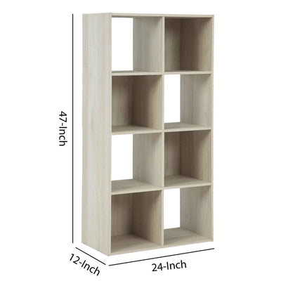8 Cube Wooden Organizer with Grain Details Natural Brown By Casagear Home BM227064