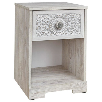 1 Drawer Nightstand with Floral Carving and Open Compartment, Washed White By Casagear Home