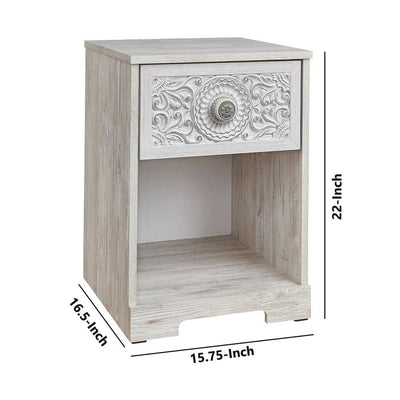 1 Drawer Nightstand with Floral Carving and Open Compartment Washed White By Casagear Home BM227073