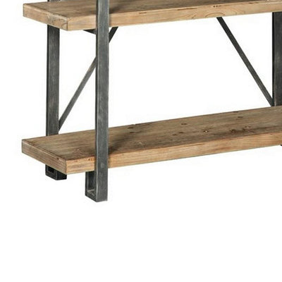 4 Wooden Fixed Shelf Bookcase with X Metal Support Brown and Gray By Casagear Home BM227085