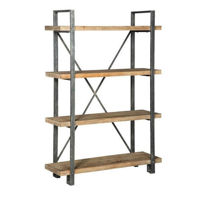 4 Wooden Fixed Shelf Bookcase with X Metal Support, Brown and Gray By Casagear Home