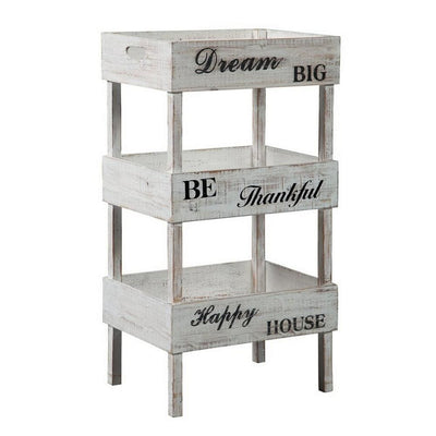 Wooden Storage Shelf with 3 Open Cases and Cut Out Handle, Antique White By Casagear Home